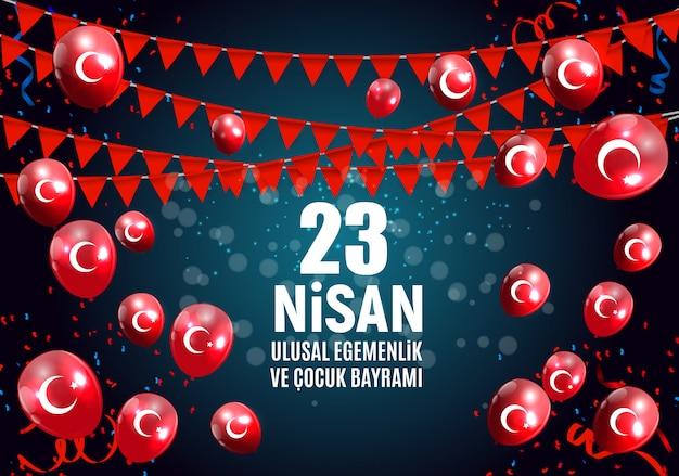 23 Avril Fête Des Enfants Turcophone, Le 23 Nisan Cumhuriyet Bayrami Vecteur Premium
