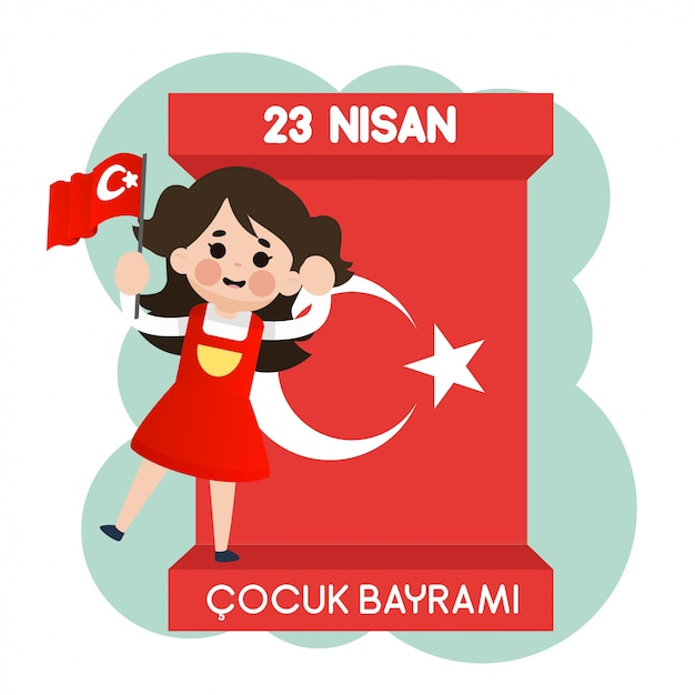 23 Nisan Cocuk Bayrami Vecteur Premium