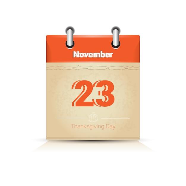 23 novembre calendrier page jour de thanksgiving automne traditionnel Vecteur Premium