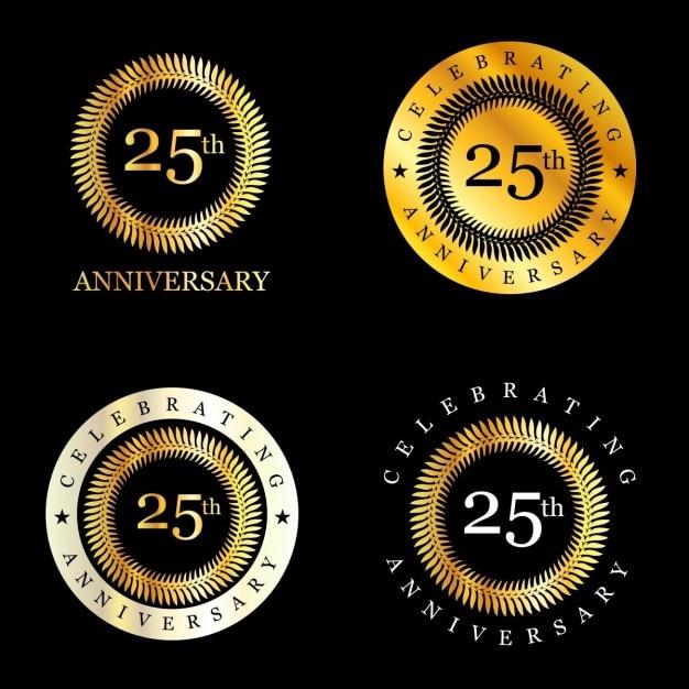 25 ans célébrer couronne de laurier Vecteur gratuit