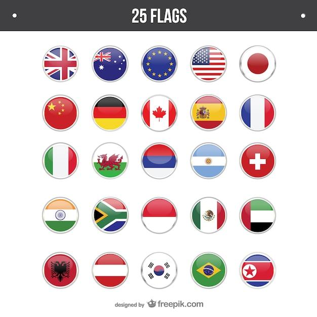 25 drapeaux fixés ronde Vecteur gratuit