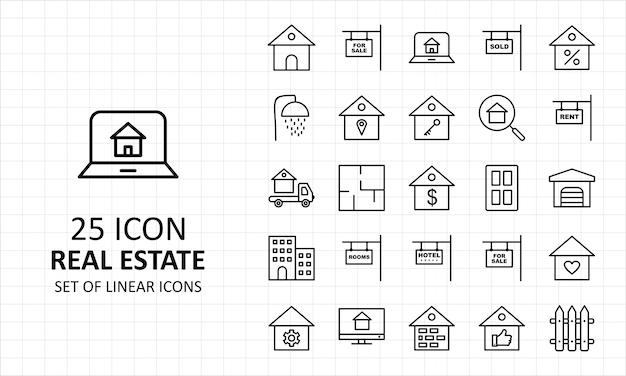 25 Icônes Parfaites De La Feuille D'icônes De L'immobilier Vecteur Premium