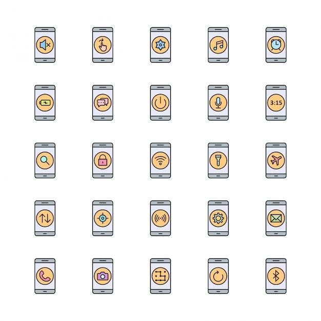 25 jeu d'icônes d'applications mobiles Vecteur Premium
