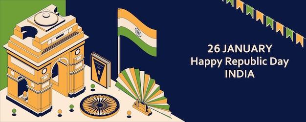 26 Janvier Fête De La République De L'inde. Carte De Voeux De Style Isométrique Avec Indian Gates. Vecteur Premium