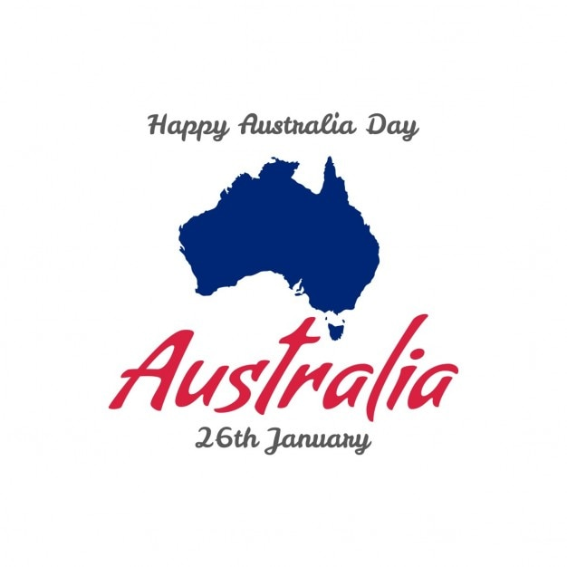 26e journée australienne carte heureux janvier avec la carte Vecteur gratuit