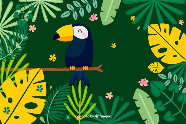 2d feuilles tropicales et fond d'oiseaux Vecteur gratuit