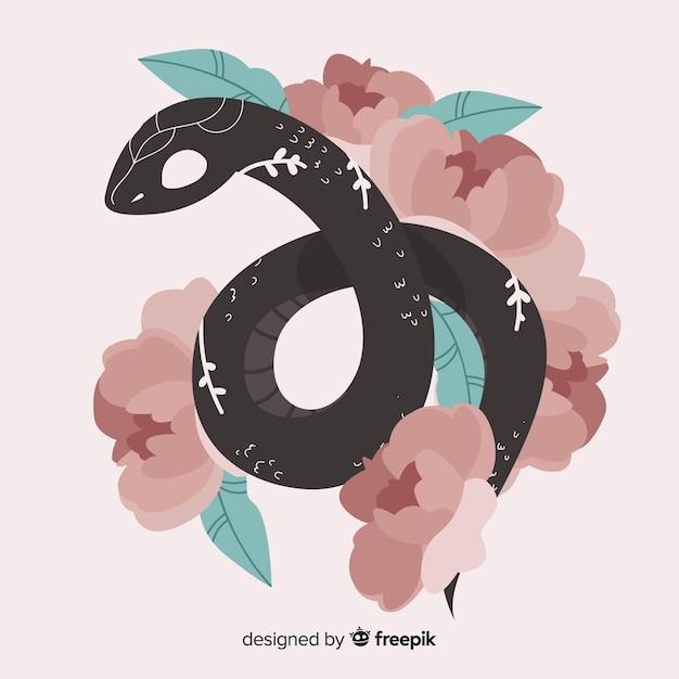 2d serpent avec des fleurs Vecteur gratuit