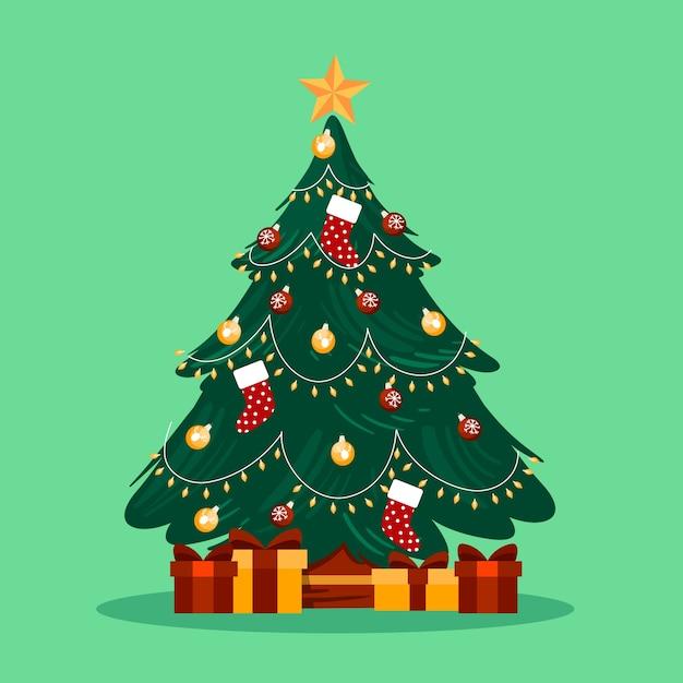 2ème arbre de noël avec des cadeaux emballés Vecteur gratuit