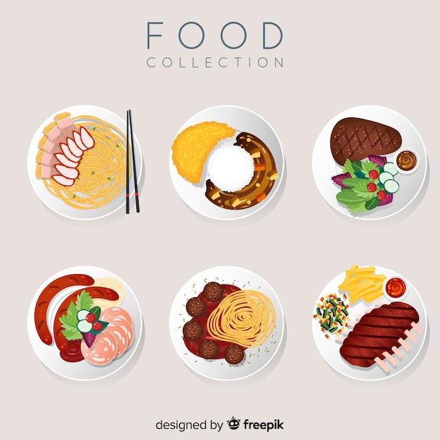 2ème Collection De Plat De Nourriture Vecteur gratuit