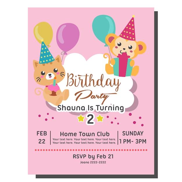 2ème modèle de carte d'invitation de fête d'anniversaire avec singe mignon Vecteur Premium