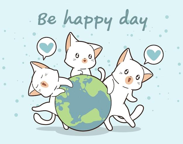 3 chats kawaii aiment le monde Vecteur Premium