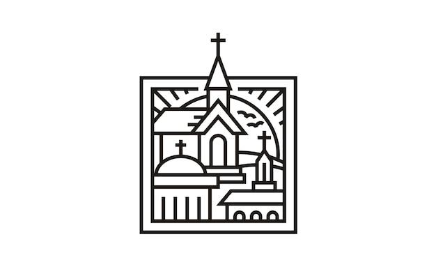 3 églises dans la conception du logo frame Vecteur Premium