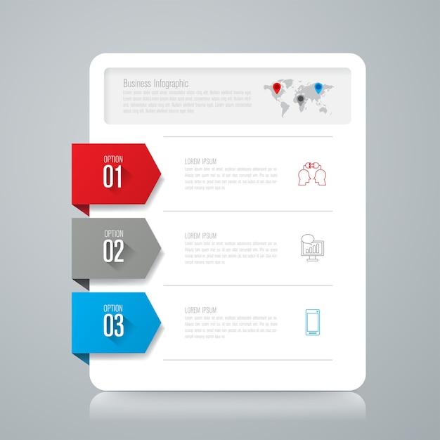 3 éléments infographiques commerciaux pour la présentation Vecteur Premium