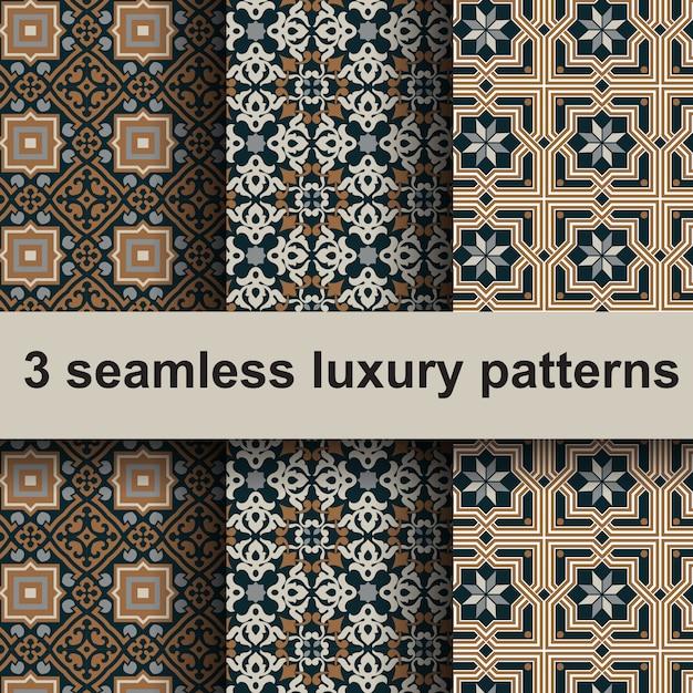 3 modèles de luxe sans soudure. Vecteur Premium