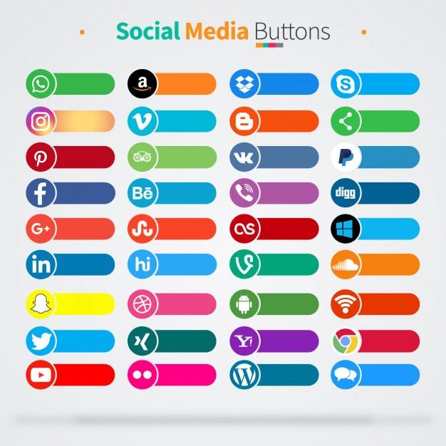 36 icônes de médias sociaux Vecteur Premium