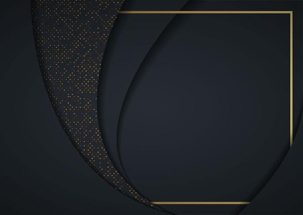 3d abstrait avec des couches de papier noir Vecteur Premium