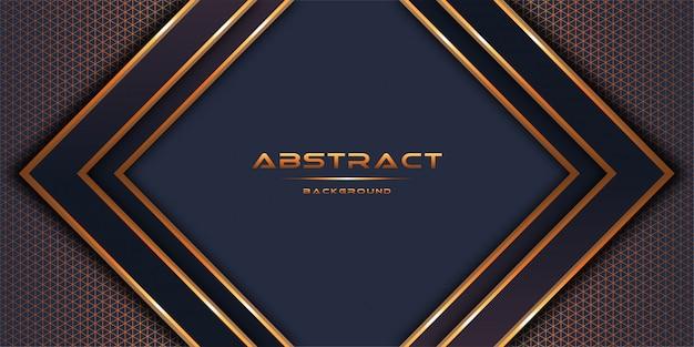 3d abstrait avec couches de papier or design de modèle de fond Vecteur Premium