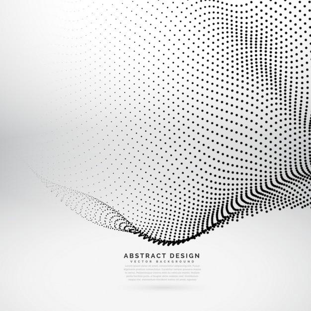 3d abstrait maillage d'onde de particules dans le style de la technologie de cyber Vecteur gratuit