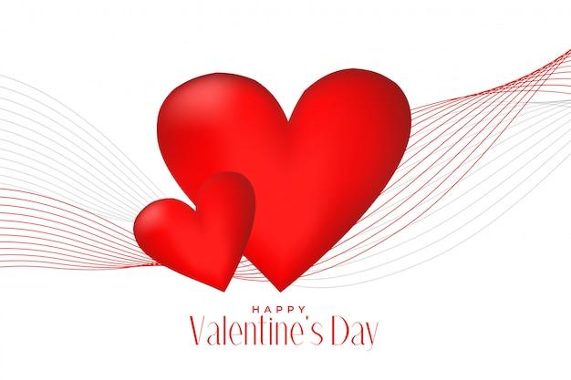 3d coeurs rouges avec fond de ligne vague saint valentin Vecteur gratuit
