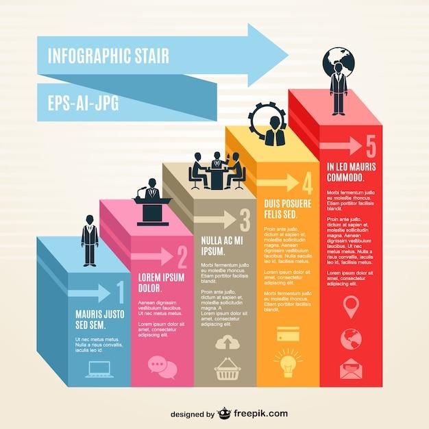 3d escalier infographie Vecteur gratuit