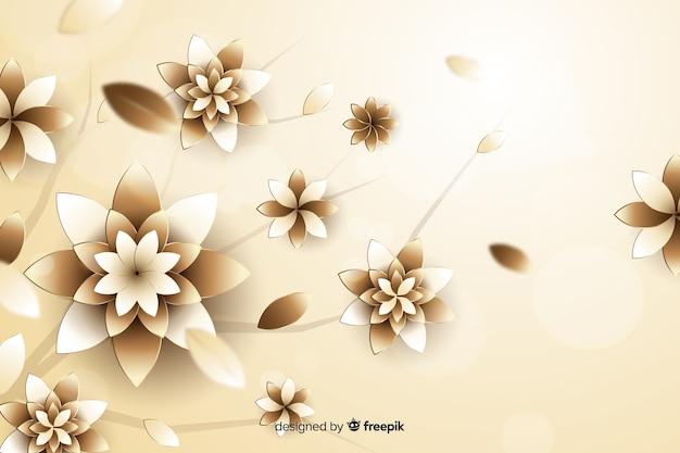3d fleurs doré sur fond beige Vecteur gratuit