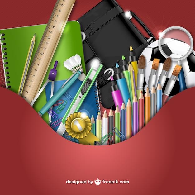 3d fournitures scolaires vecteur Vecteur gratuit