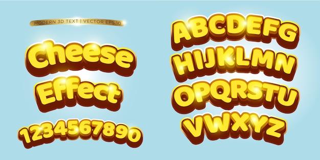 3d fromage & lettrage de bande dessinée Vecteur Premium