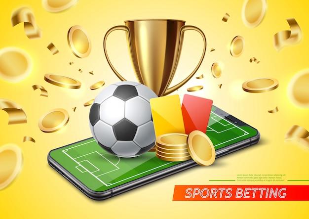 3d Golden Cup Football Card Paris Promo Vecteur Premium