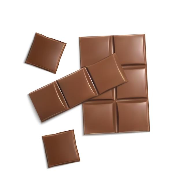 3d morceaux de chocolat réalistes. brown délicieux barres pour l'emballage maquette, modèle de paquet Vecteur gratuit