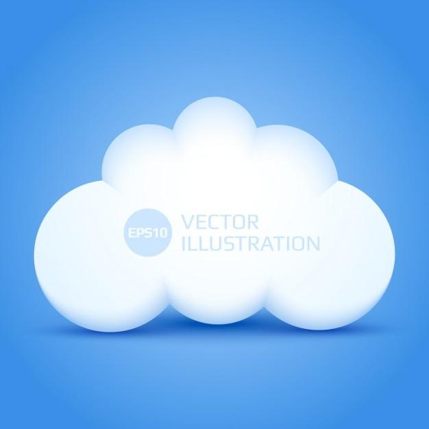 3d nuage sur fond bleu Vecteur gratuit