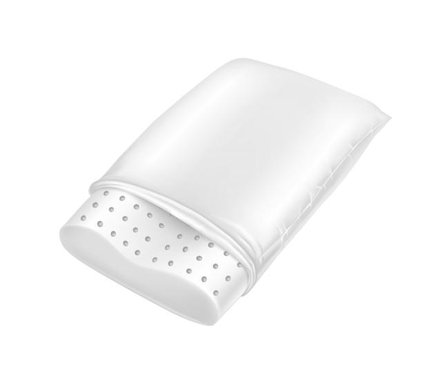 3d oreiller orthopédique réaliste en latex naturel. carré blanc coussin confortable pour le repos. Vecteur gratuit