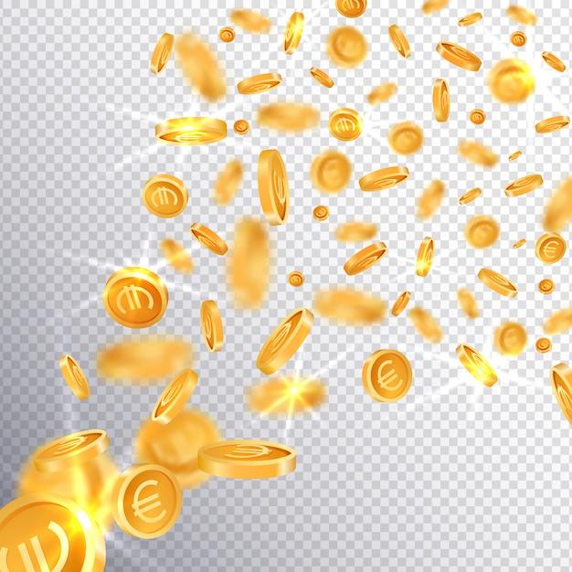 3d pièces d'or dollar et euro Vecteur Premium