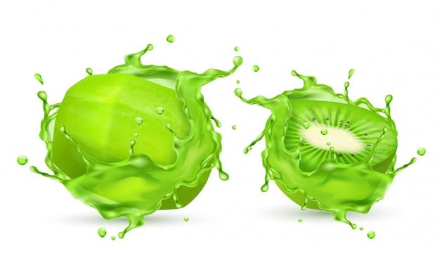 3d réaliste kiwi tropical pelé dans des éclaboussures de jus. fruit sucré exotique vert dans la vit Vecteur gratuit