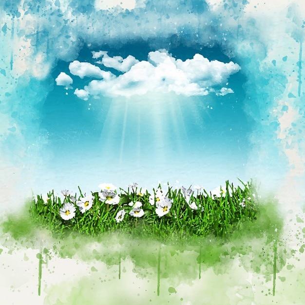 3d rendent des marguerites dans l 39 herbe avec un nuage de. Black Bedroom Furniture Sets. Home Design Ideas