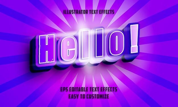 3d Style Cursif Violet Et Bleu Style D'effets De Texte Modifiables Vecteur Premium