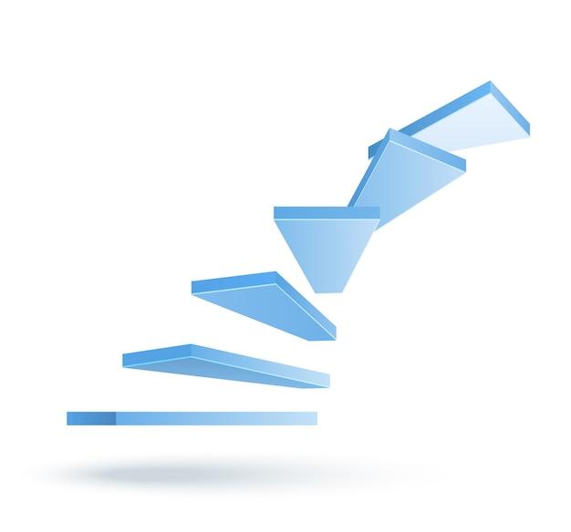 3d, Vecteur, Monter, Escalier, Isolé Vecteur gratuit