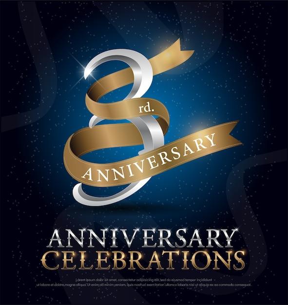 3ème anniversaire Vecteur Premium