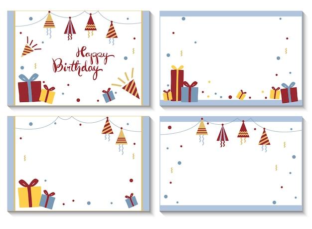 4 Cartes Postales Pour Joyeux Anniversaire. Vecteur Premium