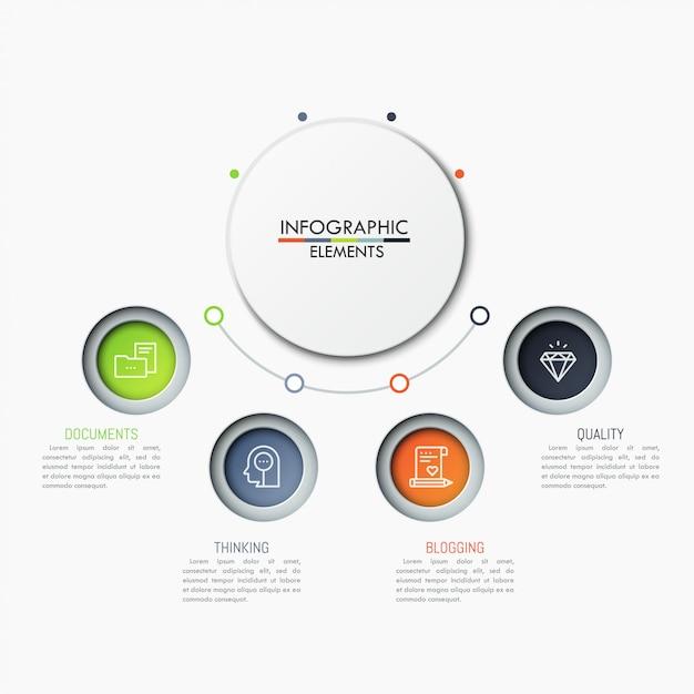 4 Cercles Colorés Avec Pictogrammes Et Zones De Texte Placés En Demi-cercle Autour De L'élément Principal Vecteur Premium