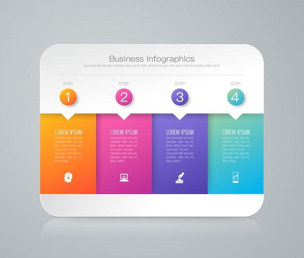 4 éléments d'infographie métier pour la présentation Vecteur Premium