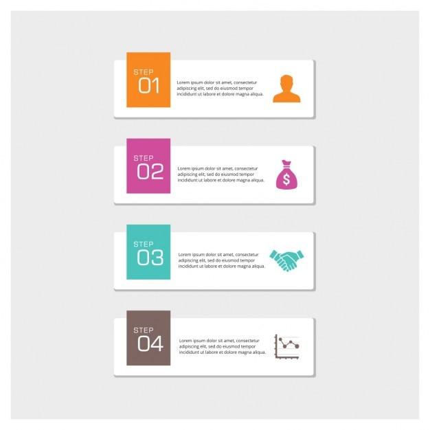 4 étapes infographic vector Vecteur gratuit