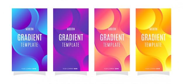 4 fond de dessin abstrait vectoriel instagram avec dégradé de couleur Vecteur Premium