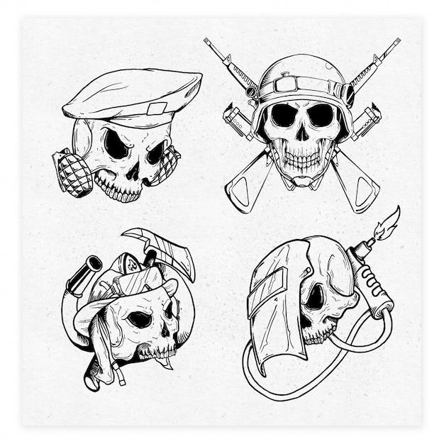 4 illustration de profession de crâne Vecteur Premium