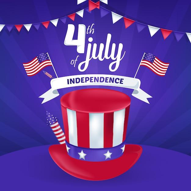4 Juillet Carte De Greting Du Jour De L'indépendance De L'amérique Vecteur Premium