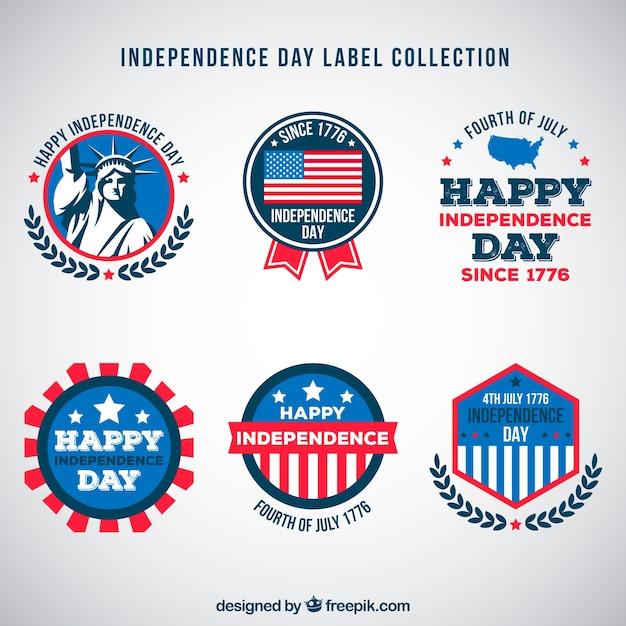4 juillet collection d'étiquettes de la fête de l'indépendance Vecteur gratuit