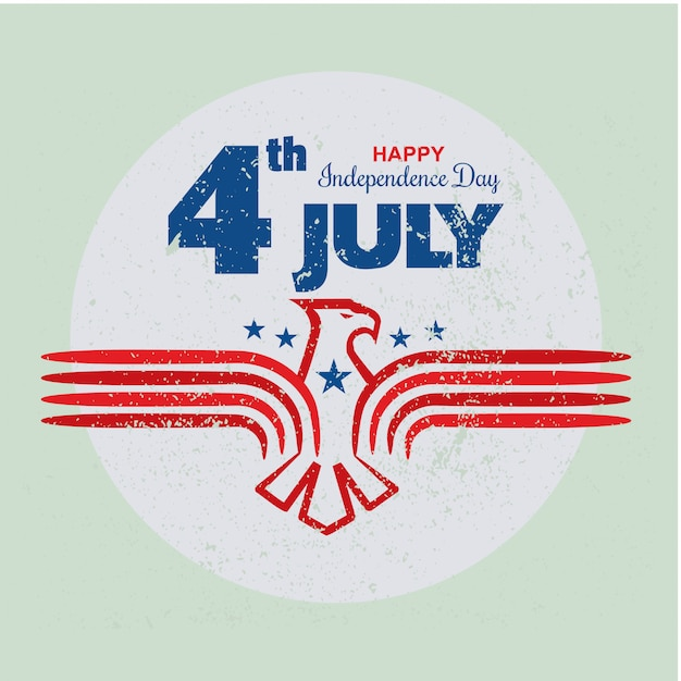 4 juillet, fête de l'indépendance des états-unis avec modèle d'aigle au style grunge ou vintage Vecteur Premium