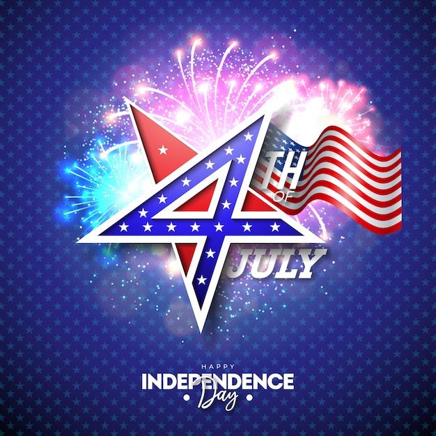 4 juillet, fête de l'indépendance des usa illustration vectorielle Vecteur Premium