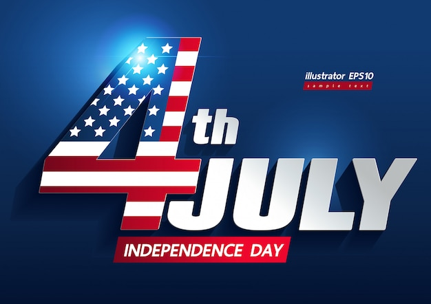 4 juillet fête de l'indépendance Vecteur Premium