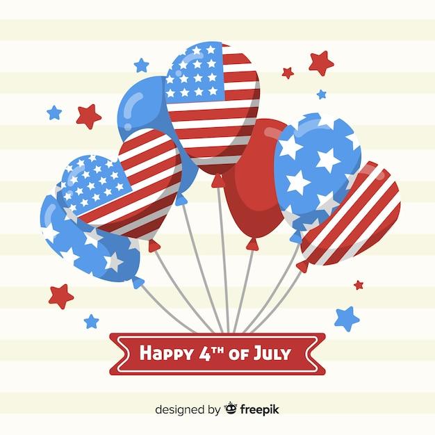 4 juillet - fond de fête de l'indépendance avec des ballons Vecteur gratuit