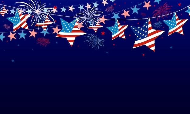 4 juillet, fond de la fête de l'indépendance des états-unis Vecteur Premium
